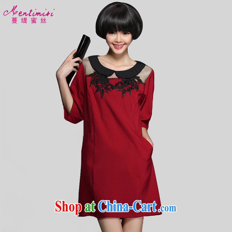 Mephidross economy honey, spring 2015 the new, and indeed increase, female embroidery stitching doll collar cuff dress 2823 big red code 5 200 XL about Jack