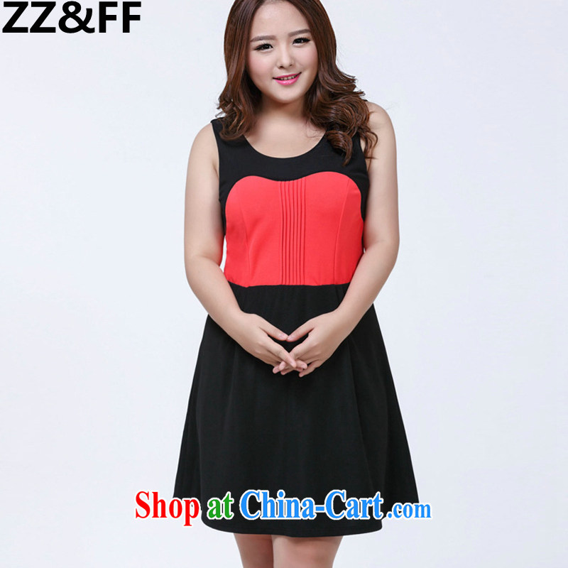 ZZ &FF 2015 summer new 200 Jack mm thick and fat XL female spell-color dresses three-dimensional trim thin Princess skirt picture color XXXL