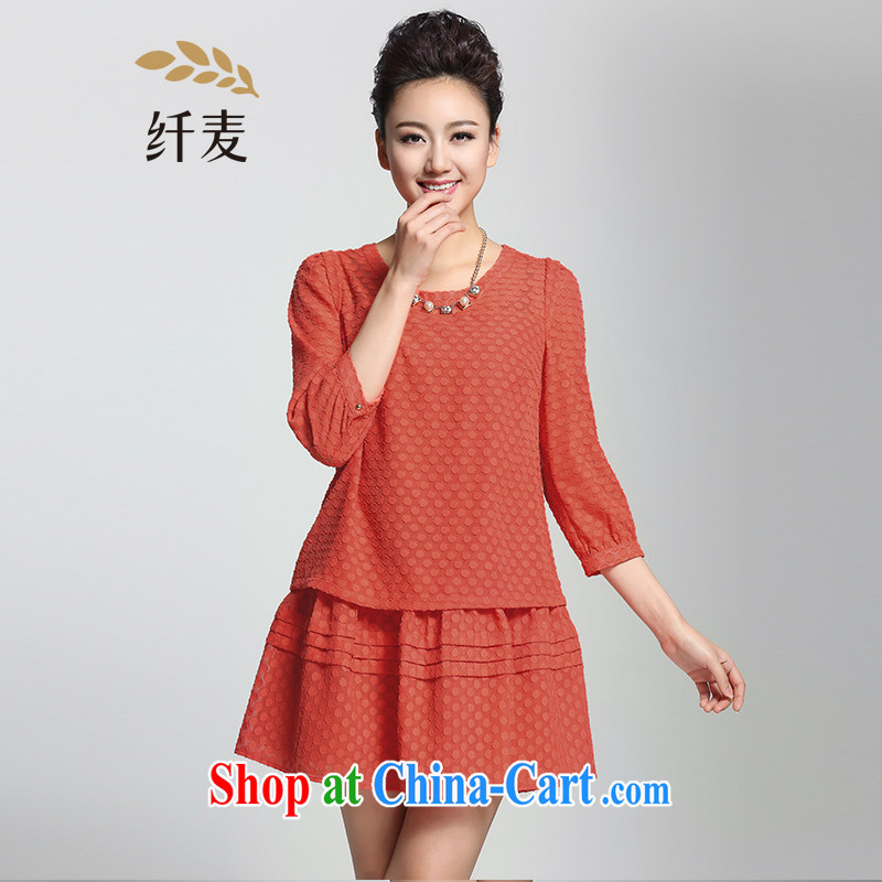 The Mak is the female 2015 spring new thick mm stylish lady A swing dress 951101004 orange 6 XL