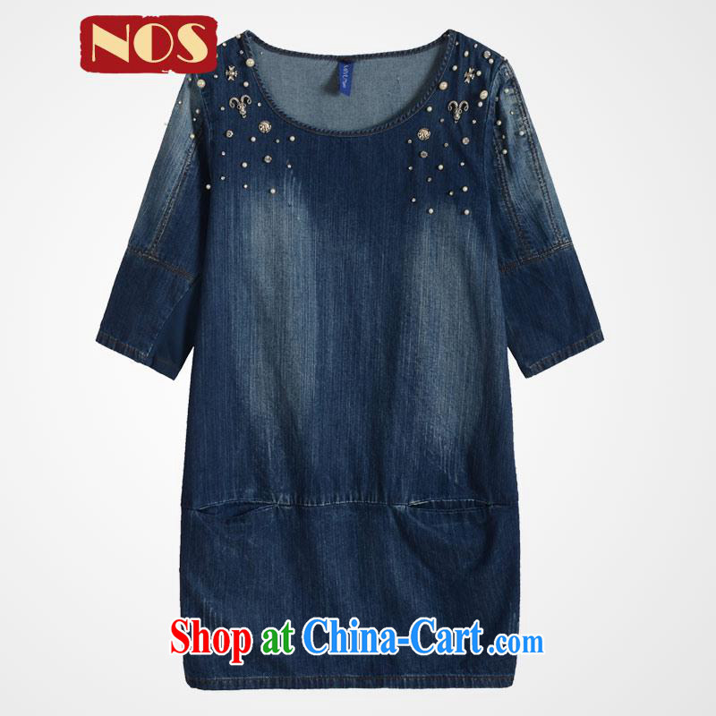 Thin _NOS_ Korean version of the greater code female summer and indeed increase staple in Pearl cuff denim dress M 51,291 deep blue 5 200 XL about Jack wearing