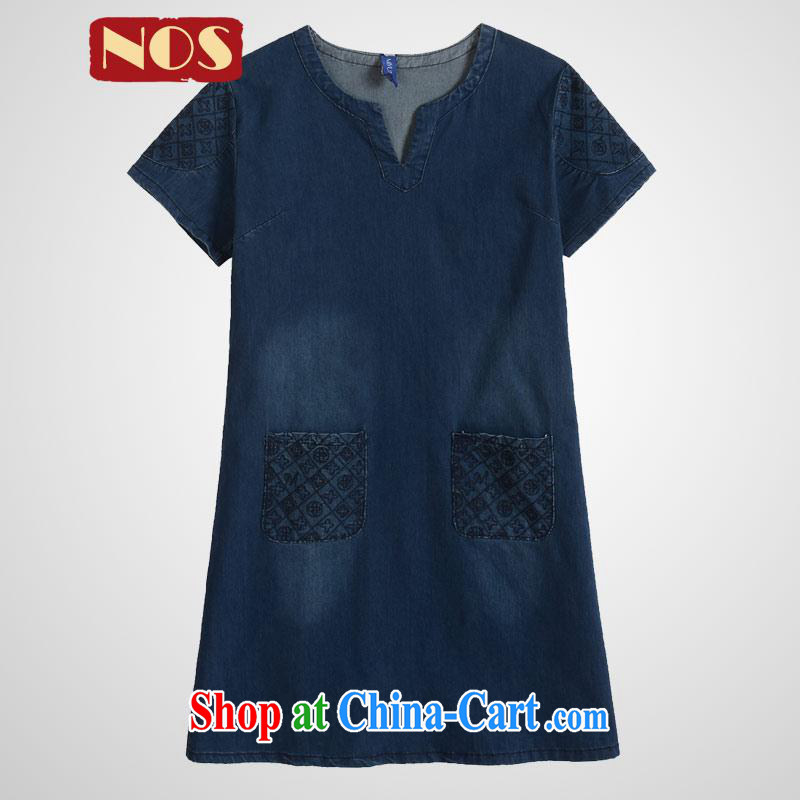Thin _NOS_ summer new Korean version the code dress dress loose video thin embroidery denim dress M 51,241 dark blue large code 5 XL 190 Jack left and right through