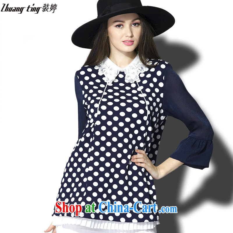 The Ting zhuangting fat people graphics thin 2015 spring new larger female high-end in Europe and indeed the greater emphasis on sister shirt 5002 black-and-white point 5 XL