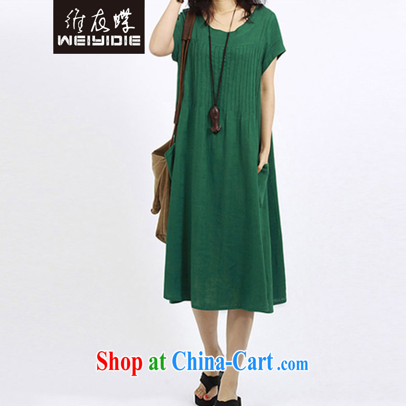 The Yi butterfly 2015 spring and summer, the female loose wrinkled cotton mA short-sleeve style dresses 8056 green L