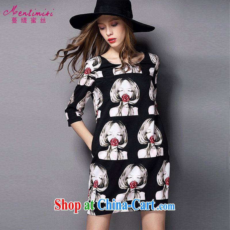 Mephidross economy honey, 2015 new larger female summer is the increased emphasis on stamp duty MM dress 2027 black large code 5 XL