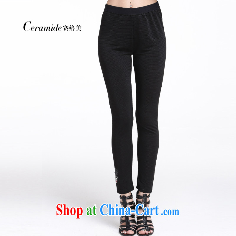Race Contact Us 2015 larger female solid pants girls summer graphics gaunt pop-up a casual women pants 651105015 black XXXXL - 48
