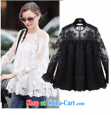 Red Star exquisite imperial Lace Embroidery fluoro stitching petals large cuff with lace T-shirt black large code L