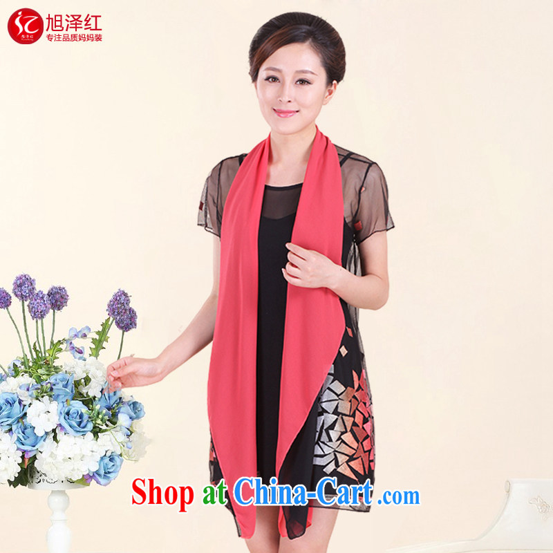 2015 new women with large, two-piece middle-aged and older female summer two-piece short-sleeved T pension 40 years old middle-aged mother with T-shirt larger dresses red XXXL