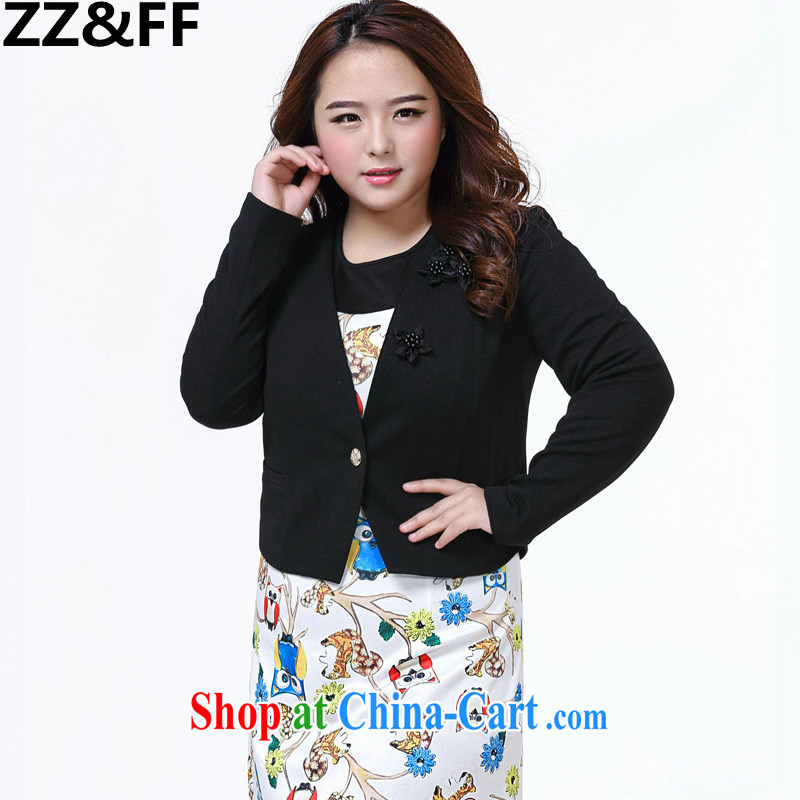 ZZ _FF 2015 summer new, larger female 200 Jack mm thick graphics thin OL V long-sleeved collar cardigan small, shoulder jacket black XXXXL