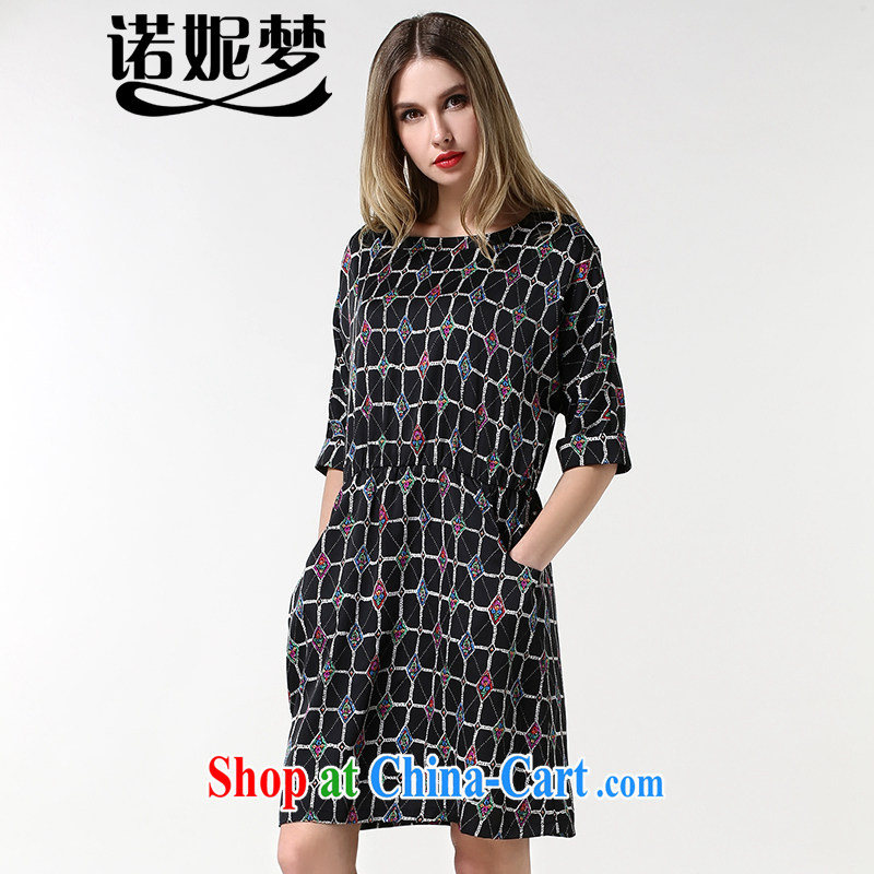 Connie's Dream Original Europe 2015 spring new and indeed increase, female 200 Jack mm thick Stylish retro tartan video thin dresses s 1881 black XXXL