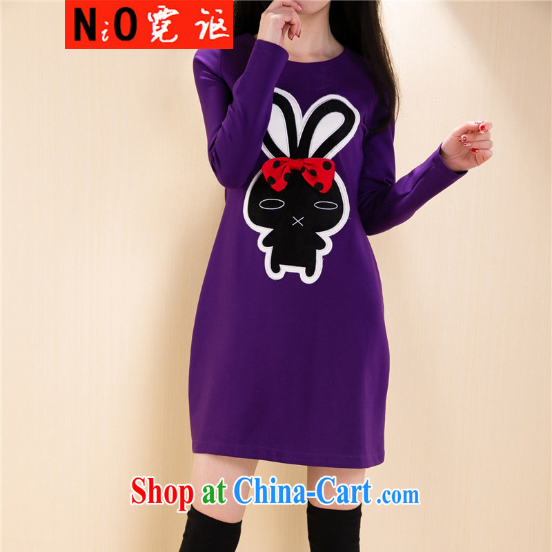 Ngai Nov 2015 spring, the code female Korean Beauty graphics thin cartoon stickers, long-sleeved sweater dress 8133 purple 4 XL