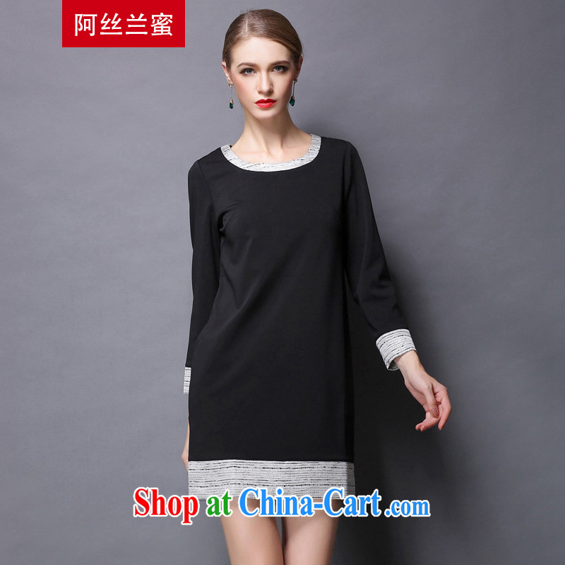 The silk, honey XL girls thick MM graphics thin spring tile graphics thin dresses ZZ 1801 black 3 XL _150 jack - 164 Jack through_