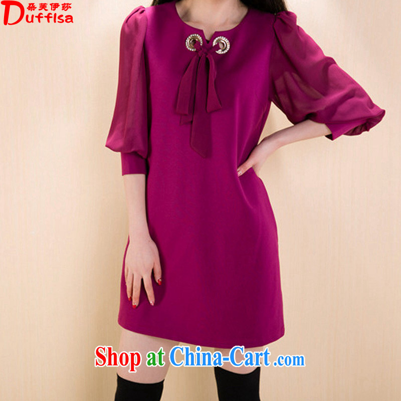 flower girl Isabelle 2015 spring and summer new thick mm larger female loose video thin ice woven stitching 7 cuff dress female D 1522 Magenta 4XL