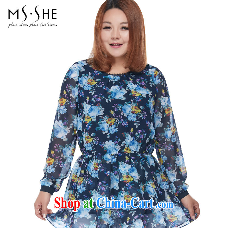 MSSHE XL ladies' 2015 spring round-collar long-sleeved-waist flouncing stamp snow woven shirts clearance 2846 suit 3 XL