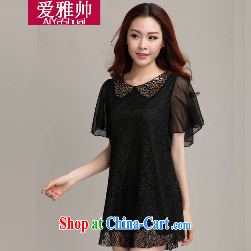Love Ya 2015 looks great, female thick mm summer lace shirt snow woven dresses black XXXL