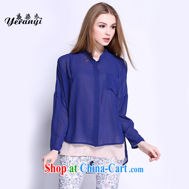 My dyeing clothing spring 2015 new in Europe and the Code women mm thick leave of two false loose video thin T-shirt blue 6 XL _185 - 200 _ jack