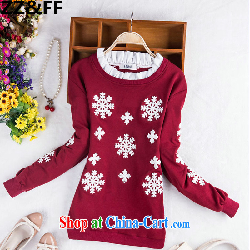 ZZ &FF 2015 spring new and indeed increase, female 200 Jack mm thick Korean stitching embroidered large code thick MM cultivating T pension female wine red XXXL (160 - 200 ) jack