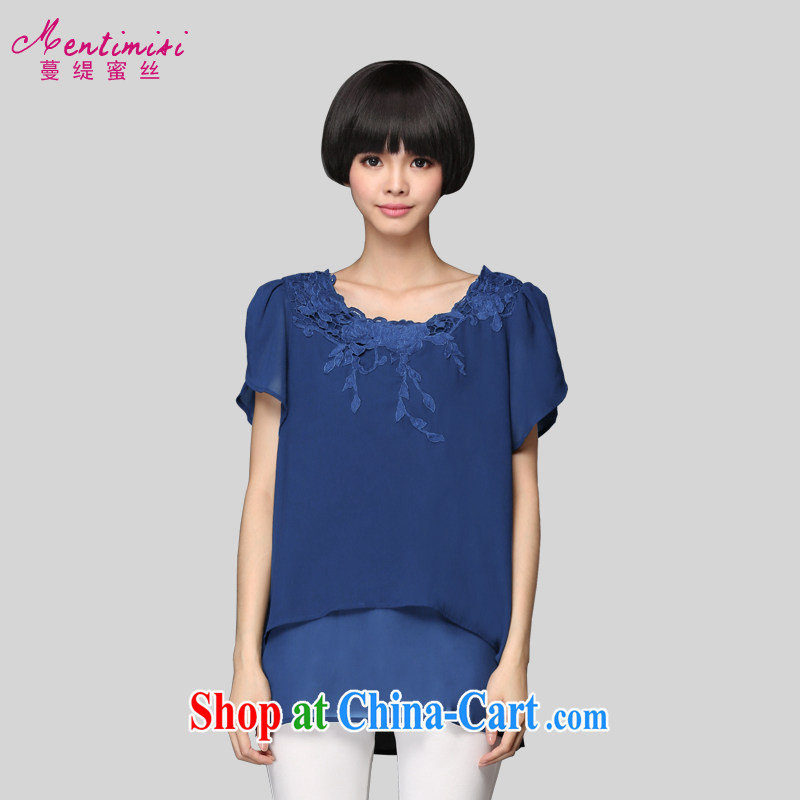 Mephidross economy honey, 2015 new larger ladies summer is indeed the greater Korean fat sister embroidered snow T woven shirts 1314 large blue code 3XL 160 Jack left and right