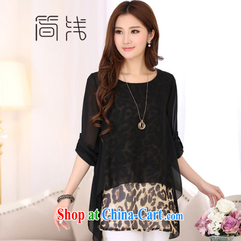 In 2015 a new, thick mm KING SIZE, female fashion leopard print long-sleeved, long, snow-woven shirts fat people graphics thin, black 7002 XXXL