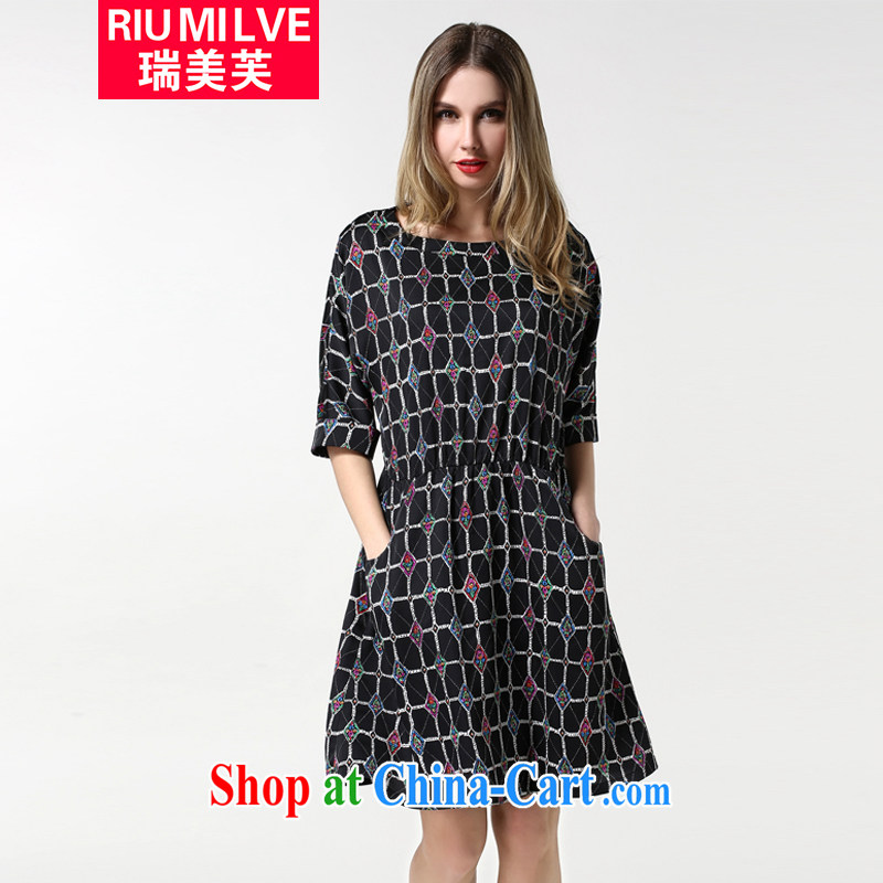 and the United States, would the code female thick MM the waist graphics thin spring 2015, European grid with 5 cuff dress 1881 black 4XL