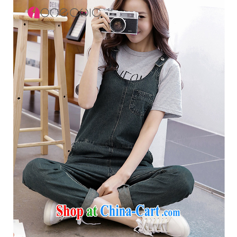 ONECHIC Korean relaxed hip-hop, the document, a code cowboy strap trousers code number can be pregnant with deep blue XS