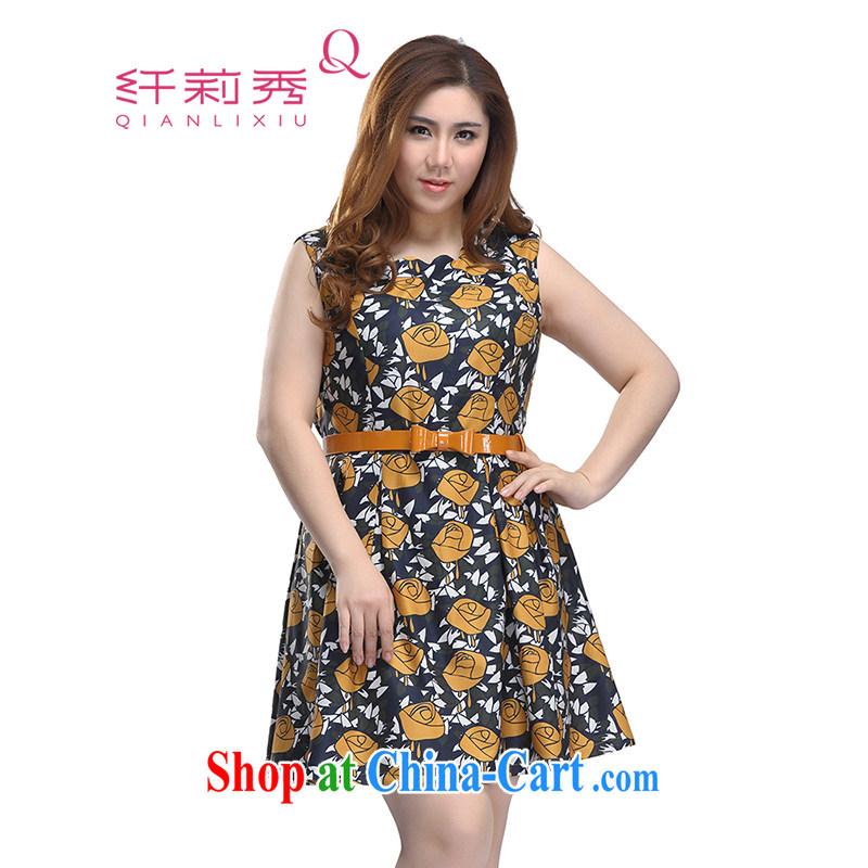 Slim LI Sau 2015 spring new larger dresses video thin rose stamp sleeveless dresses Q 7172 yellow 2 XL