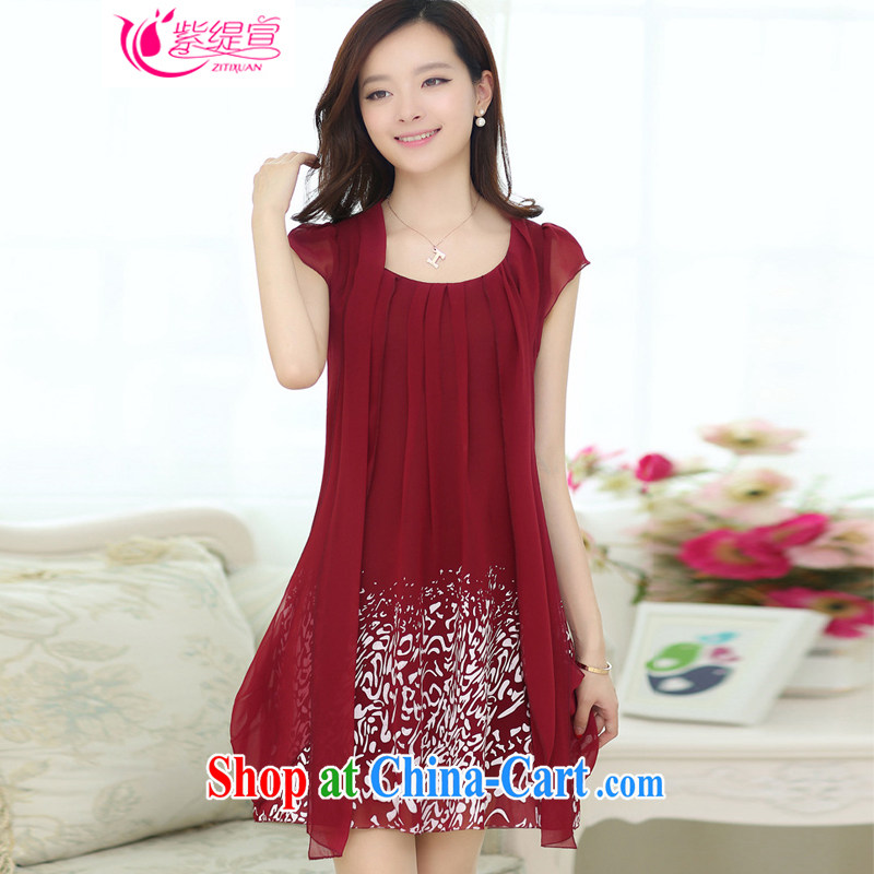 Purple long-sun 2015 summer new female Korean beauty and stylish short-sleeve snow woven dresses mm thick middle-aged loose the code stamp pregnant women skirt 1311_wine red 5 XL