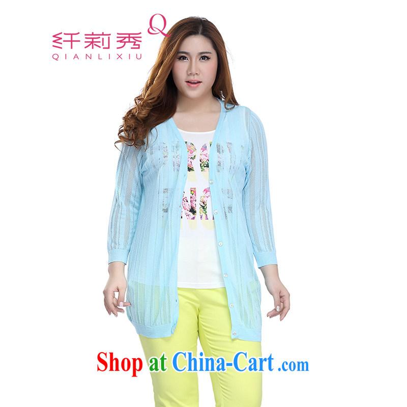 Slim LI Sau 2015 spring and summer new, larger female 8 cuff small jacket shawl Openwork knit sweater cardigan Q 7359 light blue XL