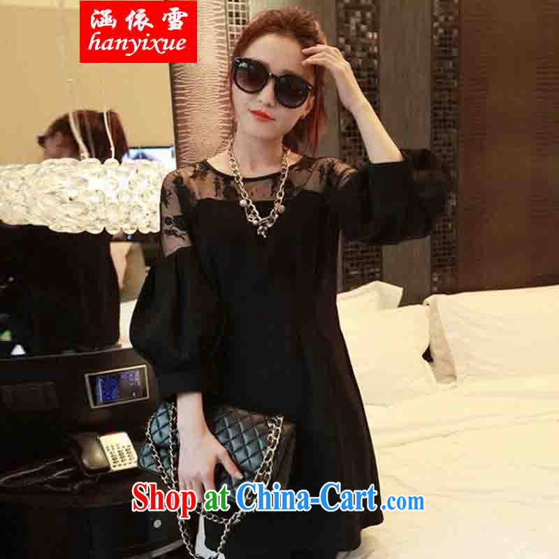 covered by snow in spring 2015 the new European and American XL girls thick mm video thin winter clothing and fat lace T-shirt dresses female black XXXL