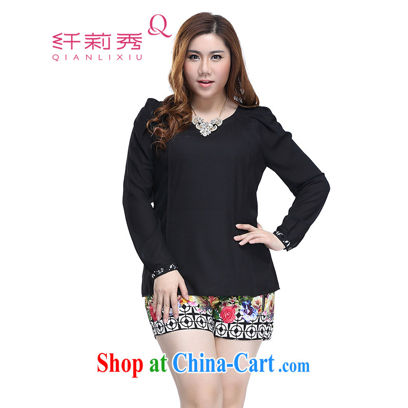 Slim LI Sau 2015 spring and summer new, larger female nails drill long-sleeved Solid Color round-collar-graphics thin aura snow woven shirts Q 7977 black 4XL