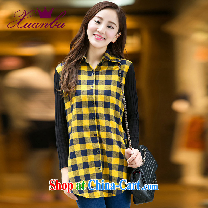 Cool Barbie ethnic 2015 spring Korean video thin checkered shirt girls long-sleeved and indeed XL women mm thick loose shirt yellow 5 XL