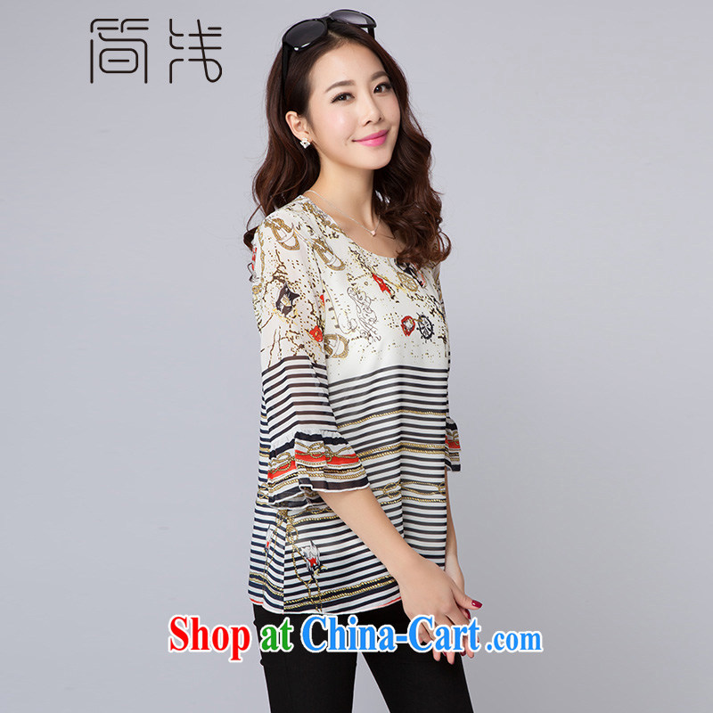 Shallow 2015 spring new king, female positioning Flower Snow woven shirts with 7 stripes cuff stitching T-shirt girl T 5007 photo color XXXL