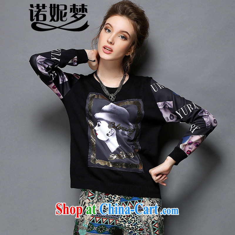 Connie's dream European and American high-end original 2015 spring new and indeed increase, female 200 Jack stamp hot long-sleeved shirt T female solid shirt G 1575 black XXXXXL
