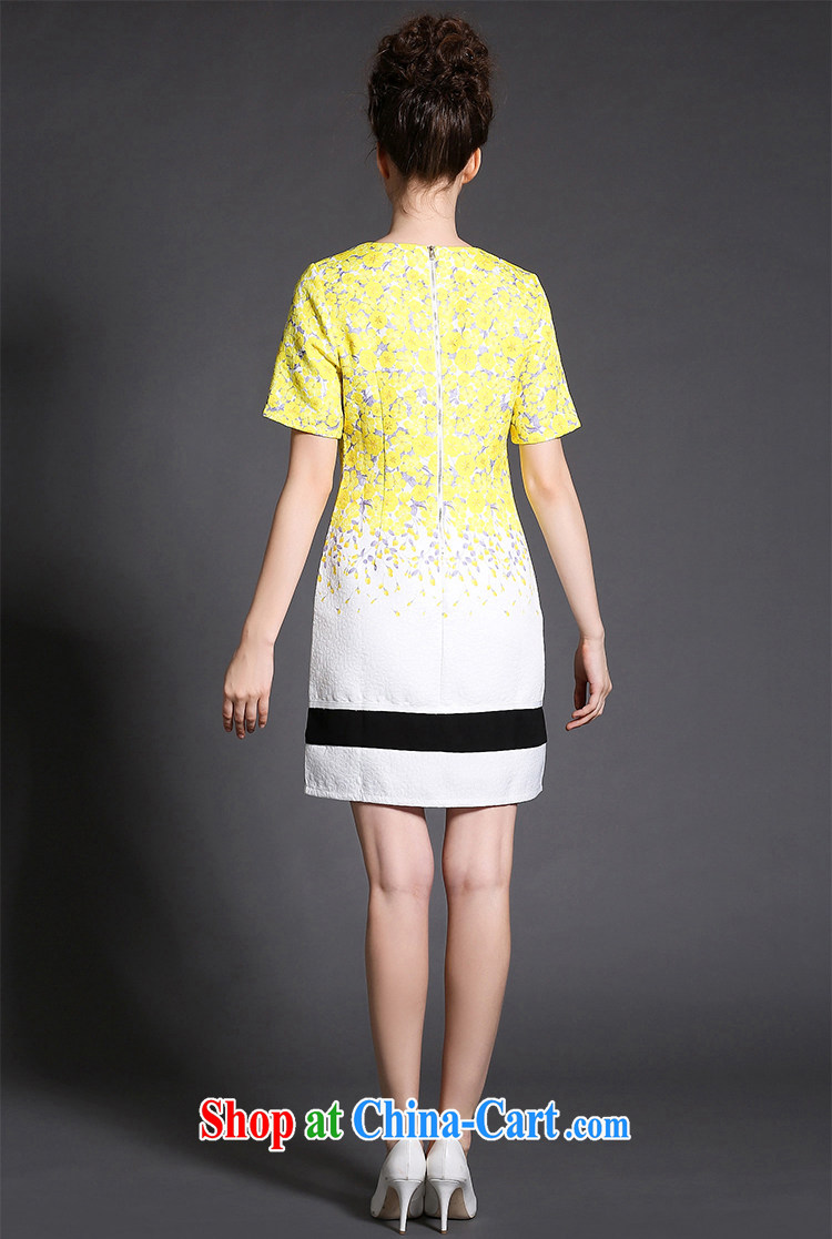 Connie's Dream Original high-end European and American dress 2015 new spring is the XL female 200 Jack elegant flowers stamp short skirt G 1517 yellow XXXXXL pictures, price, brand platters! Elections are good character, the national distribution, so why buy now enjoy more preferential! Health