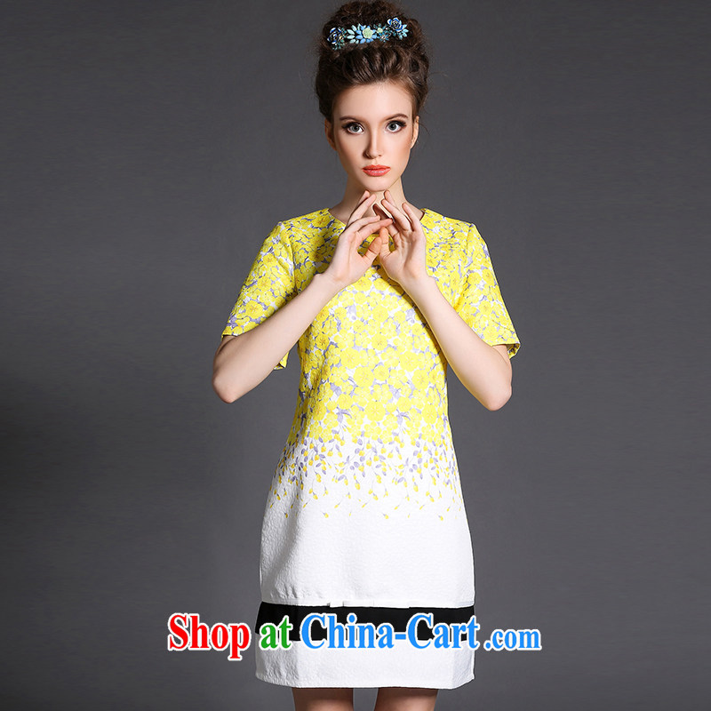 Connie's Dream Original high-end European and American dress 2015 new spring is the XL female 200 Jack elegant flowers stamp short skirt G 1517 yellow XXXXXL, Anne's dream, shopping on the Internet
