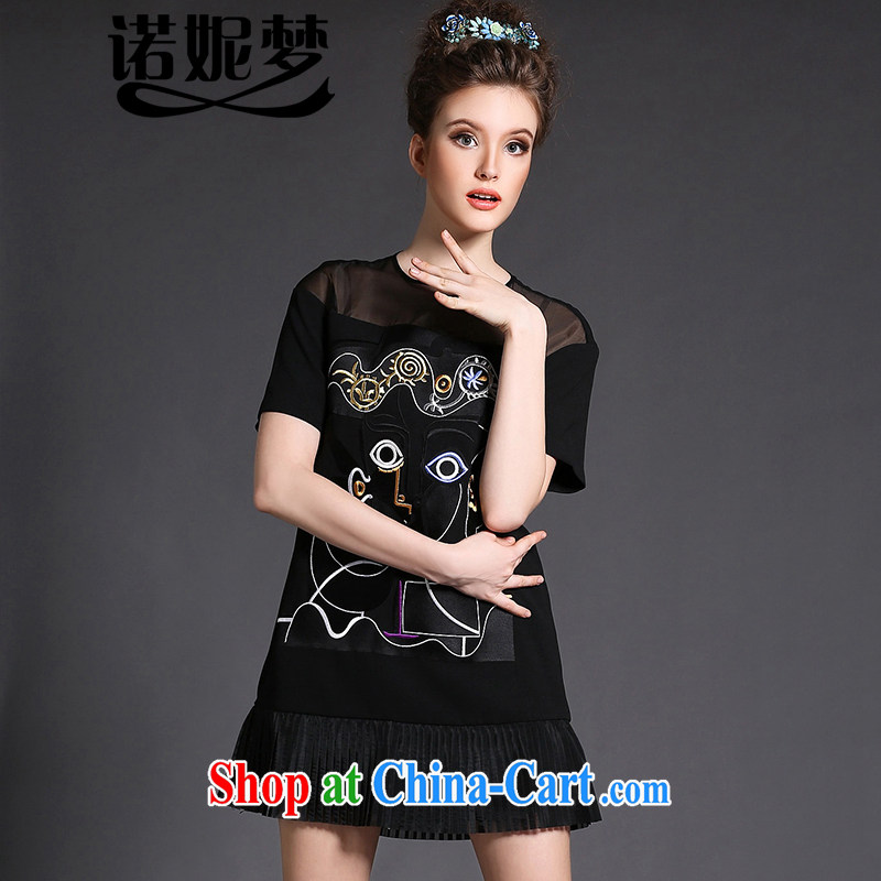 Connie's European and American Dream Original high-end European root dress 2015 new spring clothes and indeed increase, female 200 Jack embroidery 100 hem skirt G 1526 black XXXXL