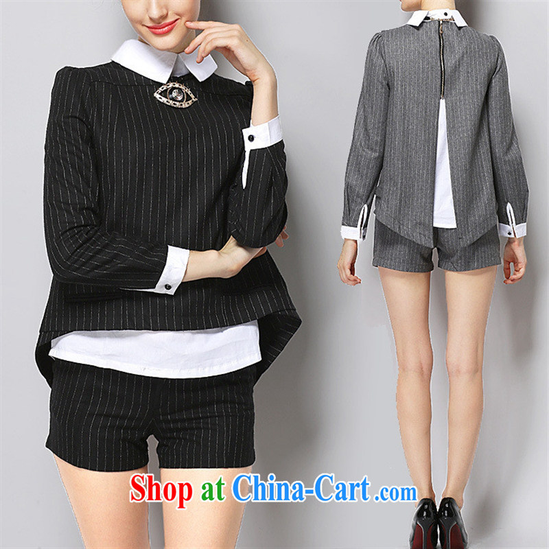 Ya-ting store 2015 the European site spring flange pair of shorts set up in Europe and America for stitching parquet drill female Two-piece gray XL