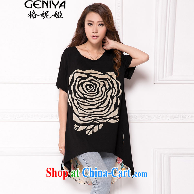 The Eugenia Brizuela de Avila 2015 Korean version the code female summer thick MM long, snow-woven spell pure cotton short-sleeved relaxed casual T pension black XXL
