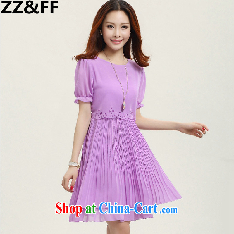 ZZ _FF 2015 summer new XL ladies dress snow woven King code loose video thin thick MM female purple _short-sleeved_ XXXXXL