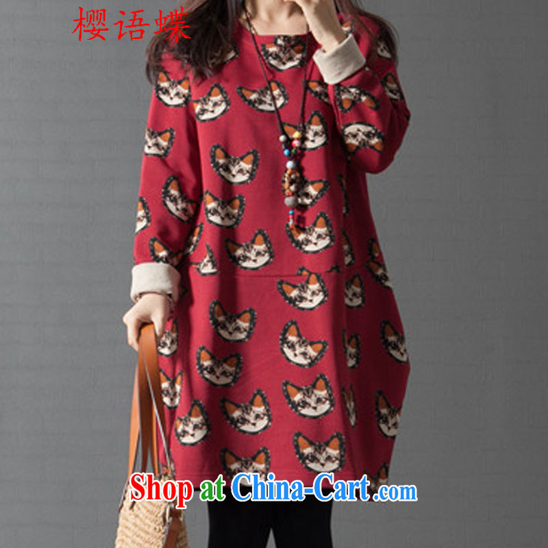 Cherry blossoms, Butterfly Spring 2015 the new girl with thick MM sweater larger dresses Korean long-sleeved thick MM cartoon pattern dresses red XXL