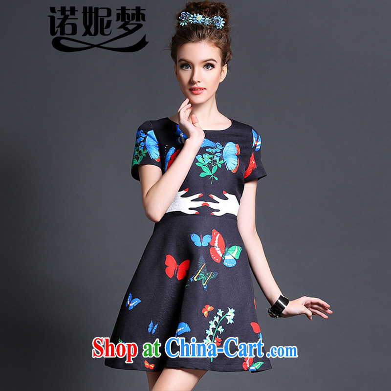 The Connie was a high-end European and American style stamp dresses 2015 new spring is indeed the XL female 200 Jack video thin short-sleeved short skirt G 1570 black XXXXL