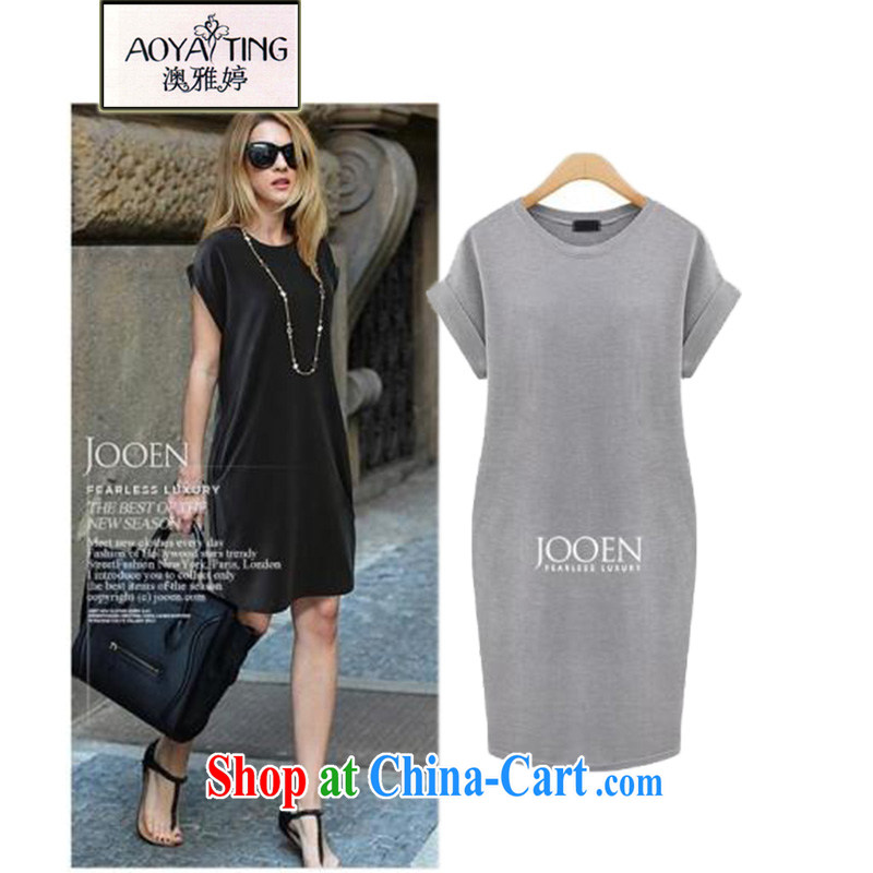 o Ya-ting 2015 spring new European and American King, female summer and indeed increase solid dresses 200 Jack D 30 light gray 5 XL recommends that you 175 - 210 jack
