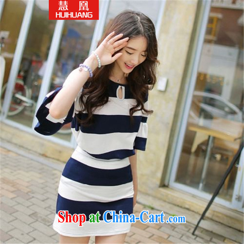 Emily for 2015 graphics thin stripes cuff flouncing bare shoulders T shirts short skirts two-part kit cotton army green L