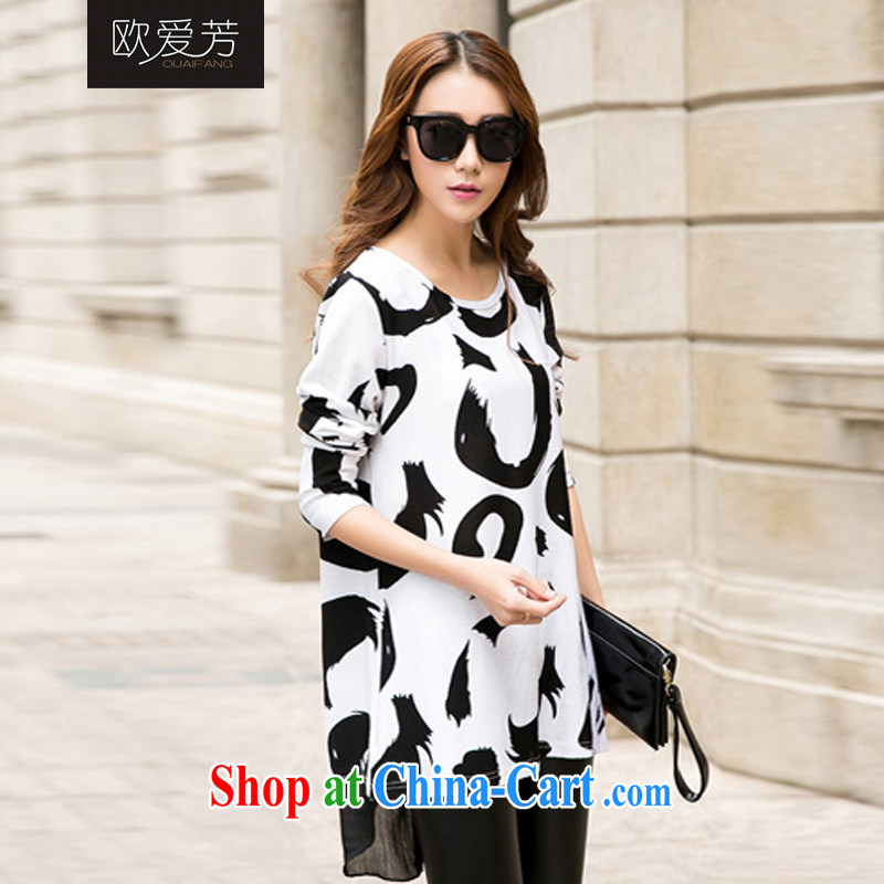 The Oi-fong 2015 new spring and summer King, female, long, snow-woven stitching cotton long-sleeved loose T pension black XXL