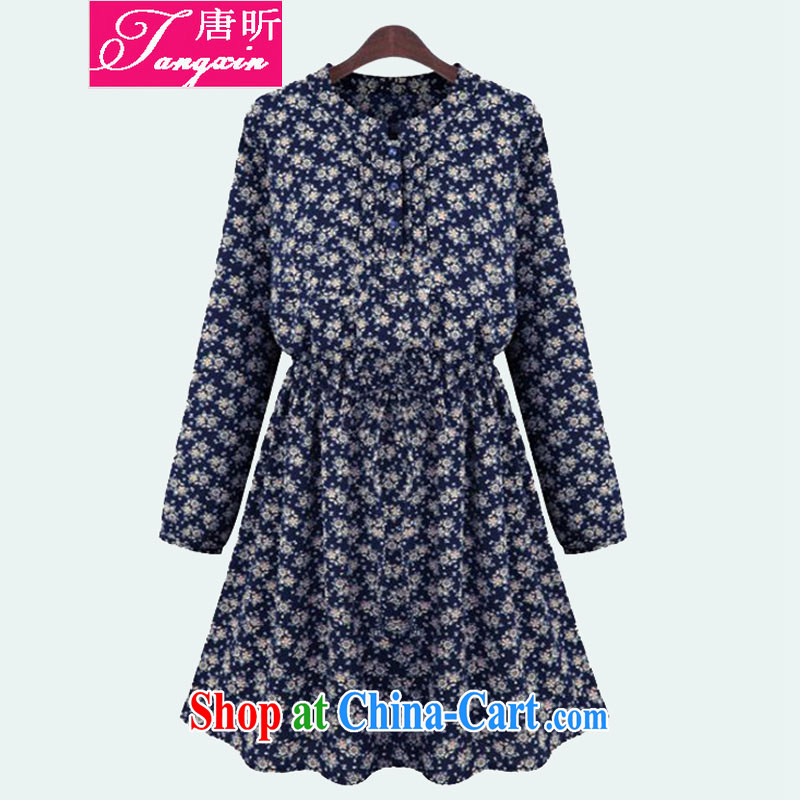 MR HENRY TANG year 2015 the European site is the girl with thick mm spring loaded new liberal style floral long-sleeved dresses Tibetan blue flower 9016 XL 4 165 - 175 Jack left and right