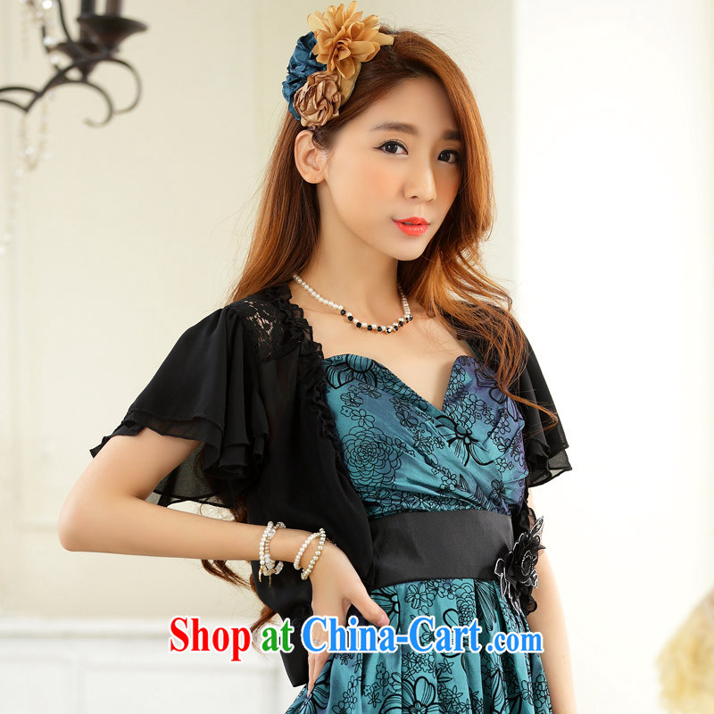 The package mail 2015 new summer camp small shoulder lace snow woven shawl XL short-sleeved sunscreen clothing dress shawl ultra-short in the Netherlands m thick black 2XL