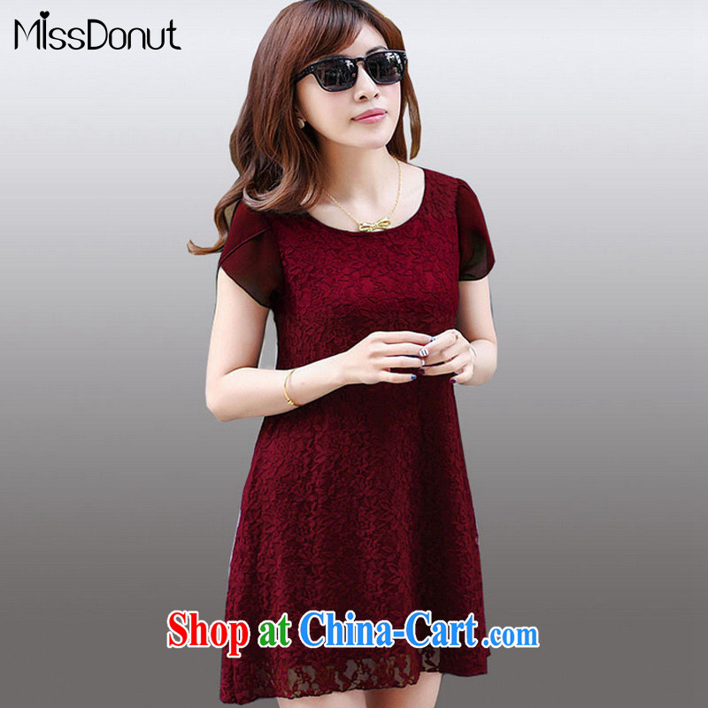 MissDonut 2015 summer new products and indeed increase, female Korean loose video thin thick mm short-sleeved lace dresses wine red code 4 XL
