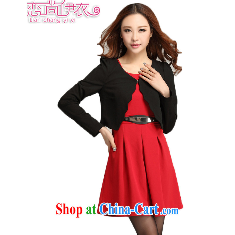 Land is the Yi 2015 spring new Korean commuter style larger female graphics thin thick sister knocked color waves two-piece dresses 3389 black T-shirt + red skirts XXXXL