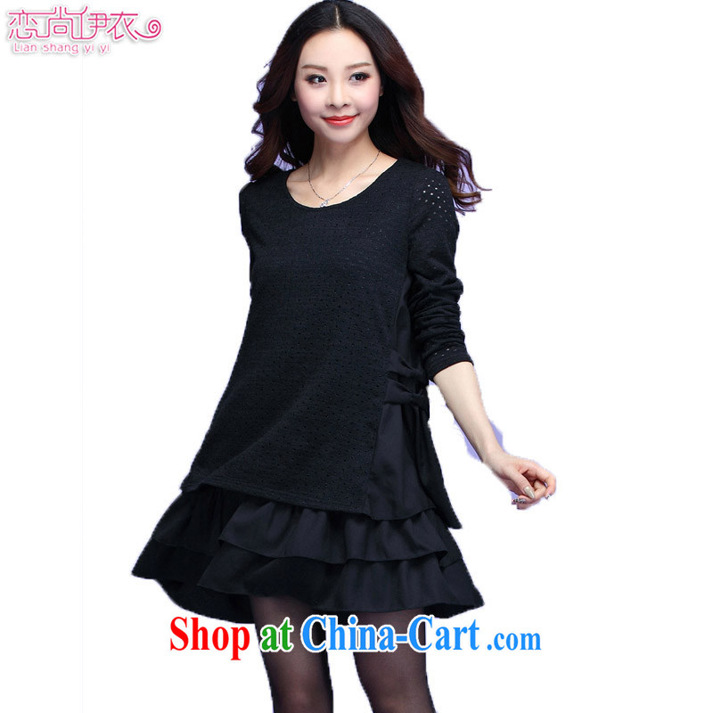 Land is still the Yi 2015 spring and summer, the Korean version of the greater code female thick sister loose knit-stitching snow woven long-sleeved leave of two piece dress dress 3678 black XXXXL