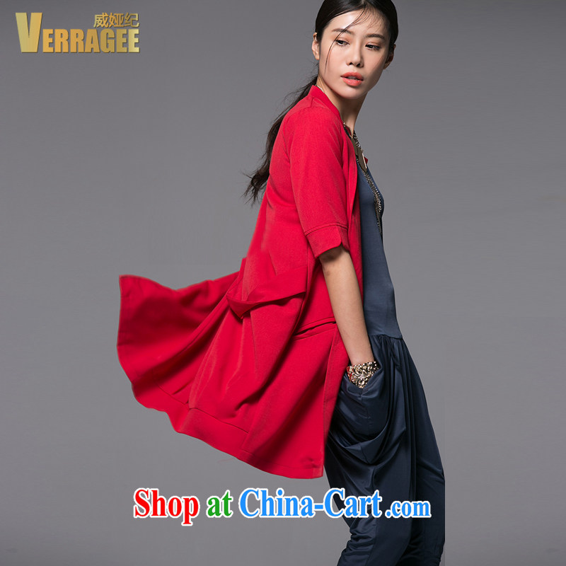 Julia Wei Ji_verragee Spring and Autumn 2015 in Europe and America, the Lesser the collar long cardigan, jacket larger female KS 003 red S