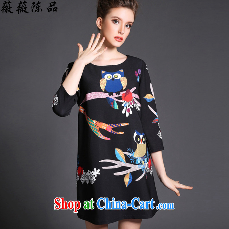 Wei-wei Chen, spring 2015 new, the United States and Europe, female 7 cuff dress, long, thick mm beauty graphics Thin women 8146 black XXXXXL